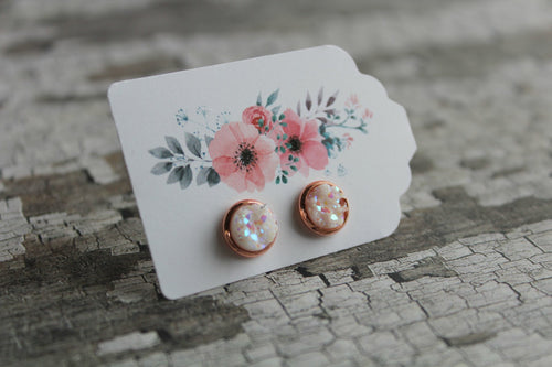8mm Confetti In A Rose Gold Stud