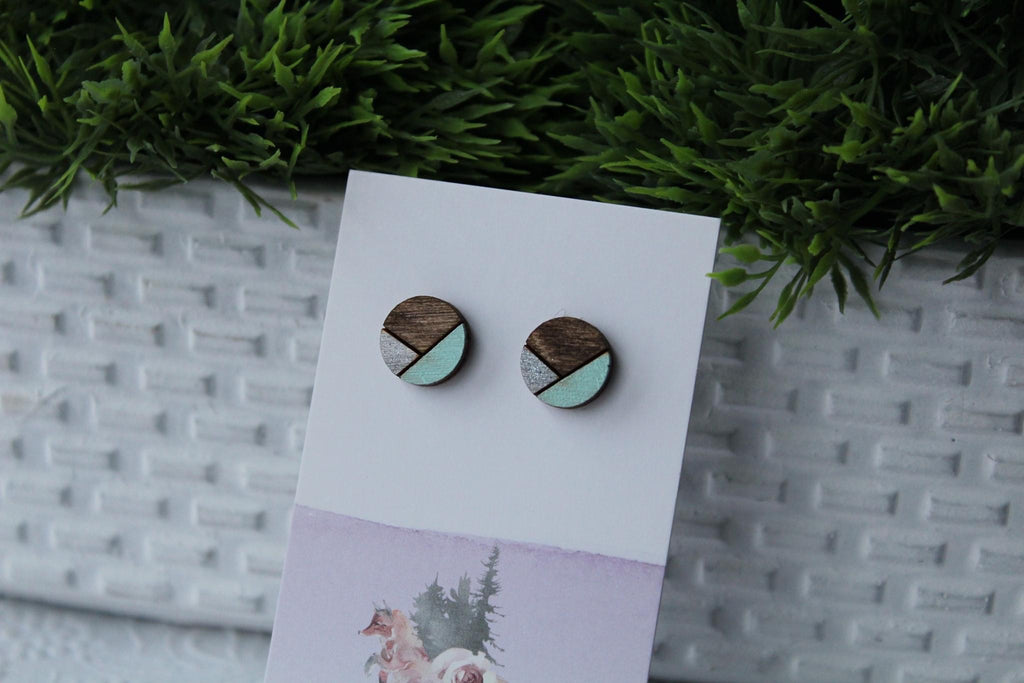 Wood Silver/Mint Earrings
