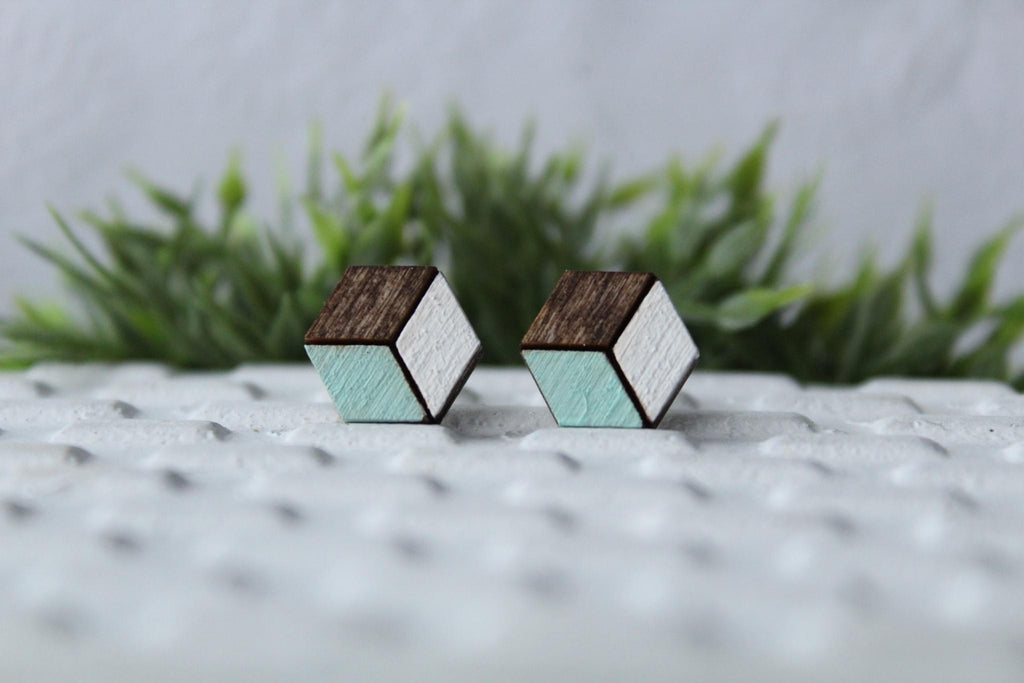 Wood Mint/White Earrings