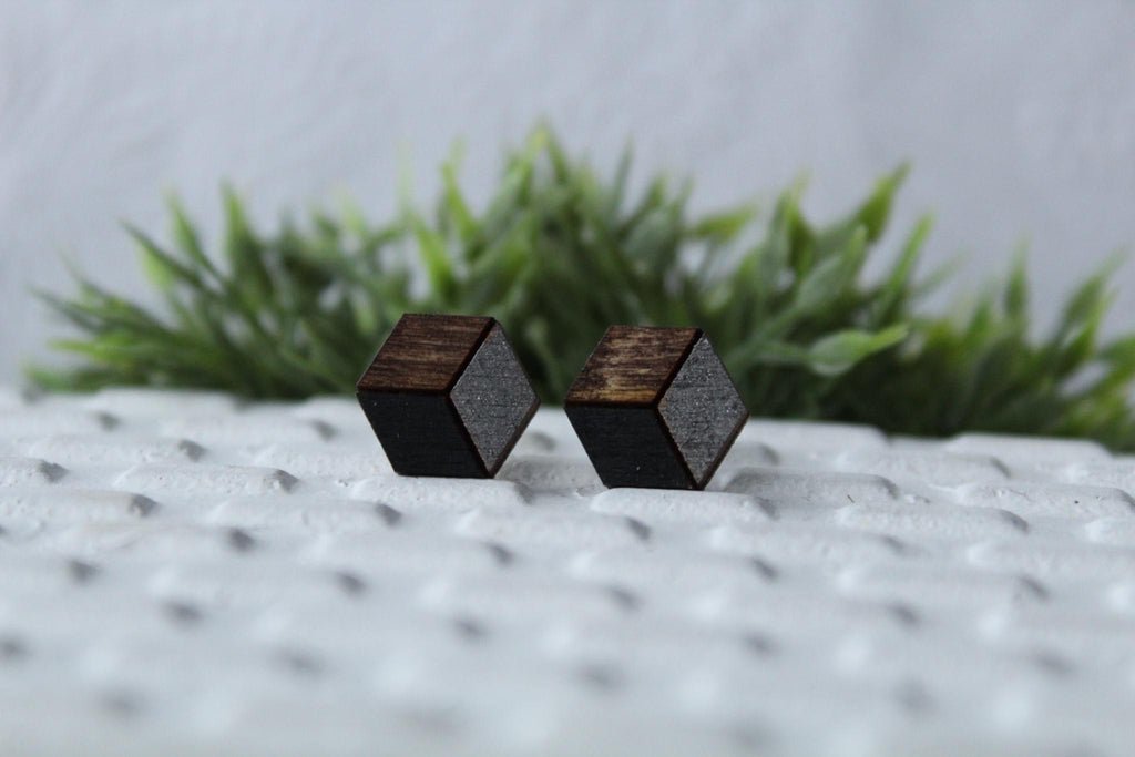 Wood Black/Metallic Grey Earrings