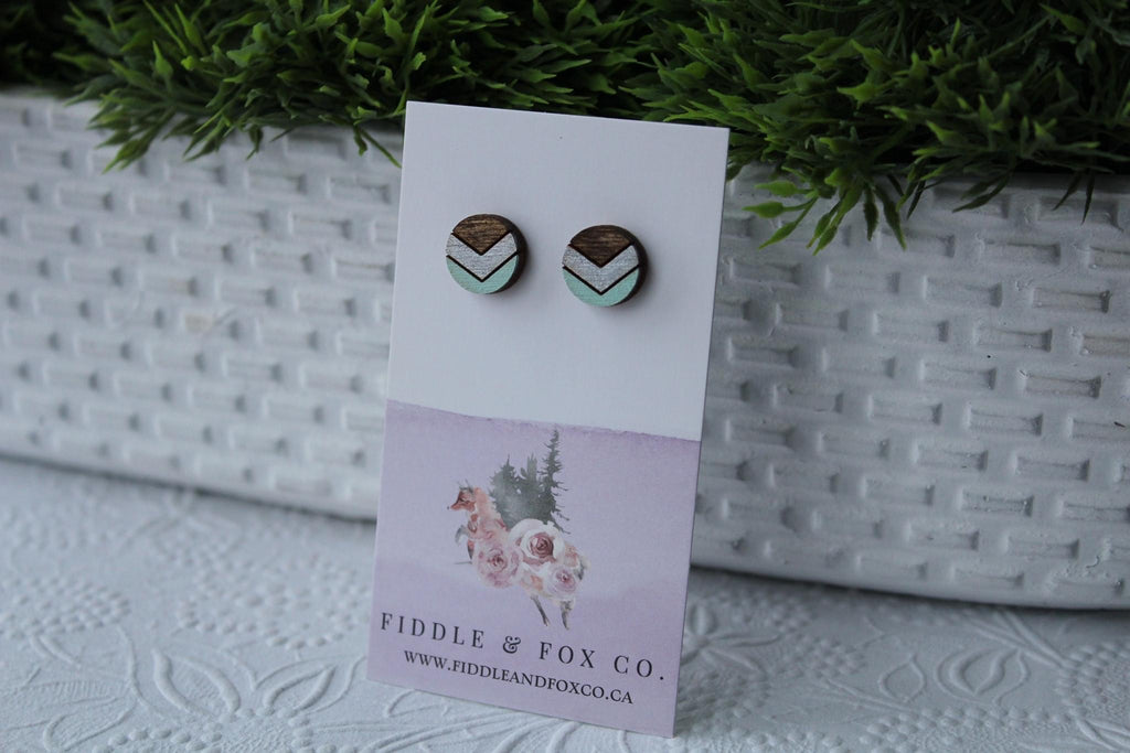 Wood Chevron Silver/Mint Earrings
