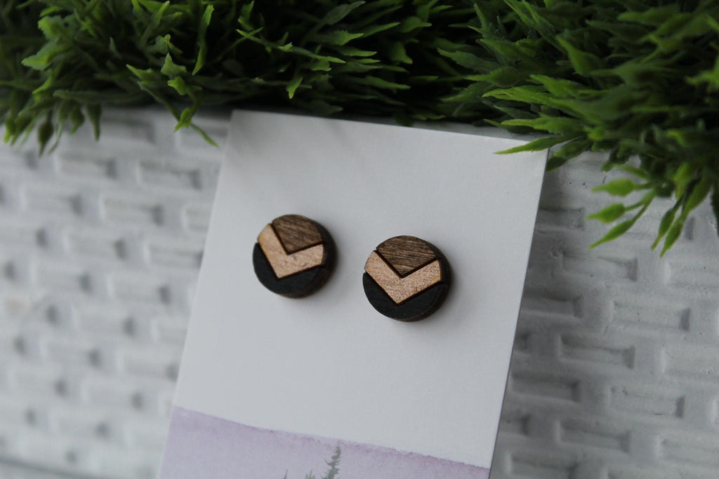 Wood Chevron Black/Rose Gold Earrings