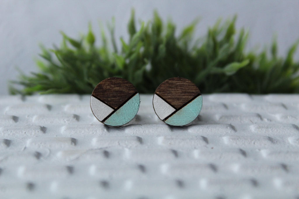 Wood White Mint Earrings