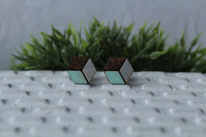 Wood Mint/Silver Earrings