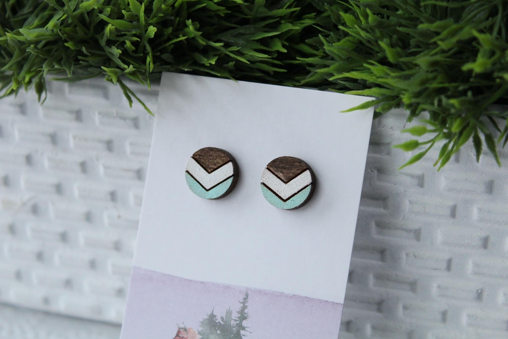 Chevron White/Mint Earrings
