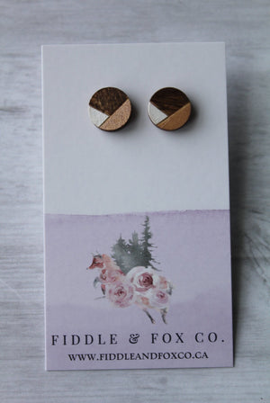 Geometric Wood Earrings • White/Rose Gold