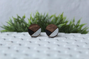 Wood Black/Silver Earrings