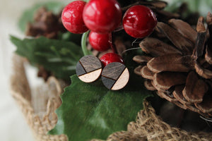 Rose Gold/Black Wood Earrings