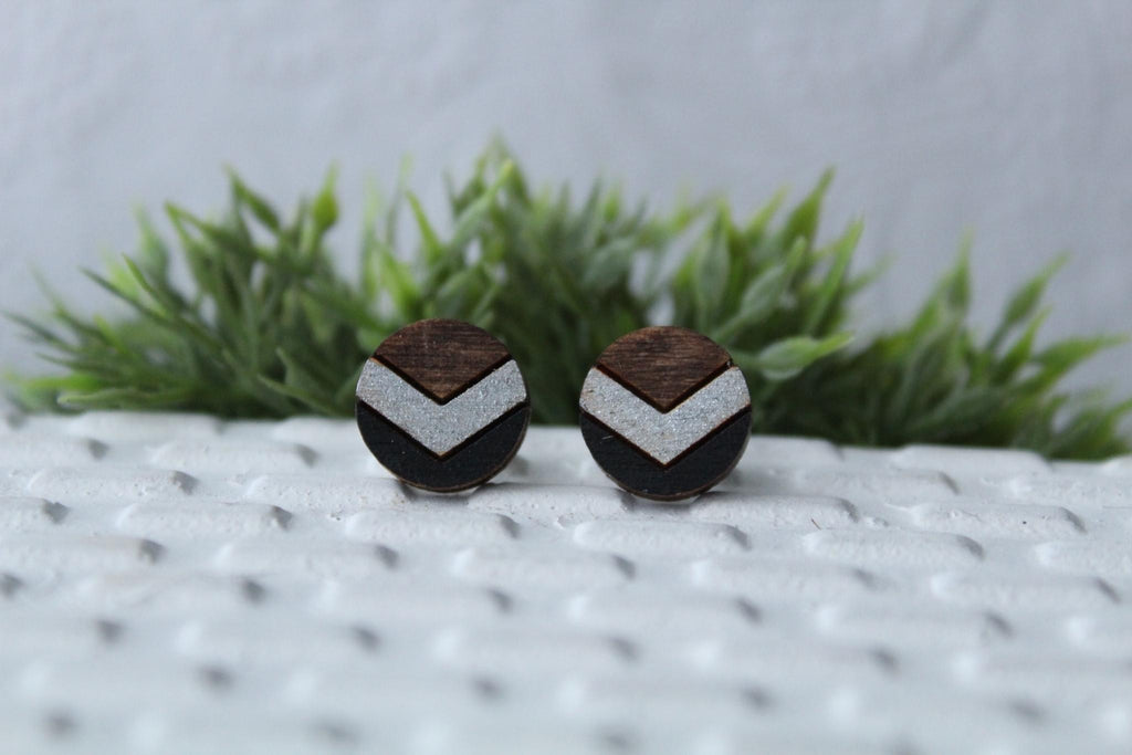 Chevron Silver/Black Earrings