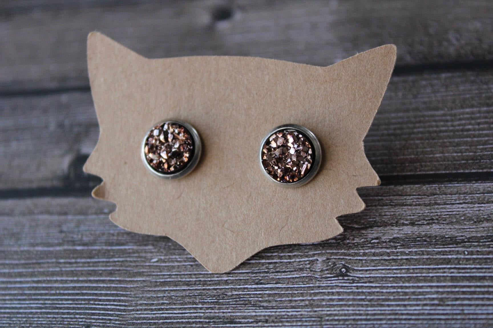 8mm Rose Gold In A Silver Stud