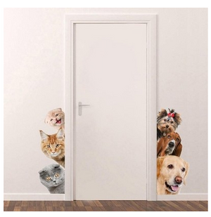 3D Cute Cat and Dog Wall Decal