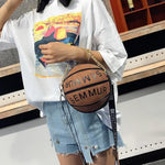 BASKETBALL SHAPED SHOULDER MESSENGER BAG PURSE TOTE