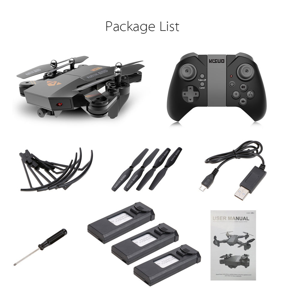 VISUO XS809HW Selfie Drone WIFI FPV RC Quadricoptero - Kit Fly More Combo - Learts Shop