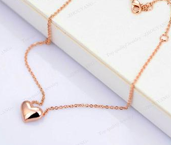 RoseLuxury Rose Gold Plated Heart Love Anklet (Made with Genuine CZ Diamonds)