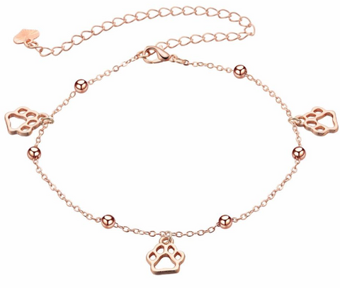 RoseAnklets Animal Paw Anklet (Real Plated Silver/Rose Gold)
