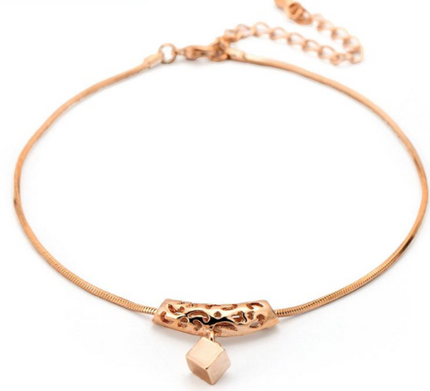 RoseLuxury Top Quality Rose Gold Plated Anklets (Beautiful Hollow Design)