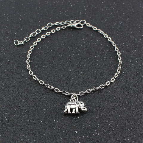 Our Simple Lucky Elephant Silver Anklet