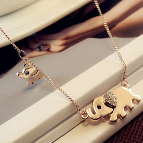 Gold Plated/Rhinestone Elephant Necklace