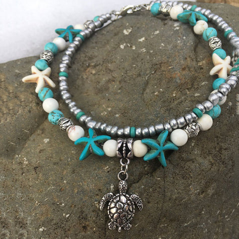 RoseAnklets Layered Beach Style Beaded Starfish/Turtle Anklet
