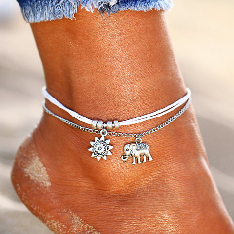Our Silver Vintage Lucky Layered Sun/Elephant Anklet