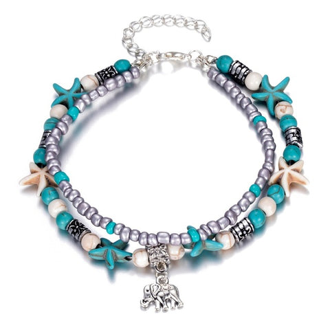 Our Beaded/Starfish Lucky Layered Elephant Anklet