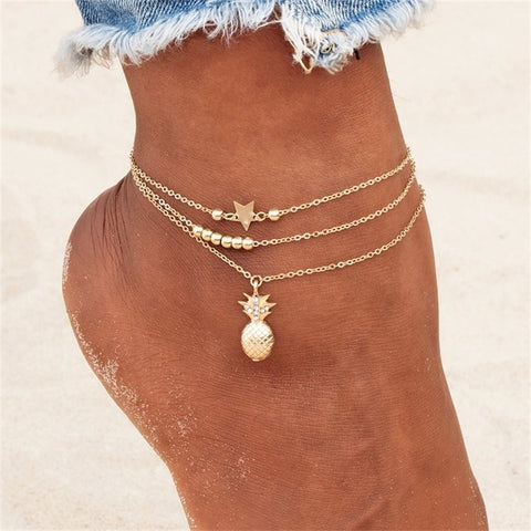 RoseAnklets Layered Pineapple Anklet (Real Plated Silver/Gold) (CZ Diamonds)