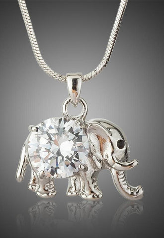 Luxury Clear CZ Diamond Lucky Elephant Necklaces
