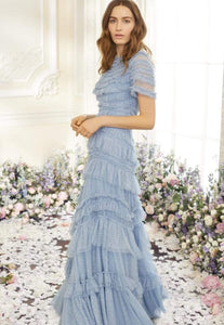 Wild Rose Ruffle Gown - Butterfly Blue