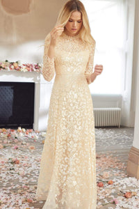 Aurelia Long Sleeve Gown - Beige