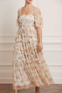 Avery Bloom Smocked Gown - Beige