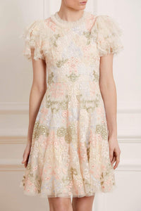 Elin Blossom Mini Dress - Beige