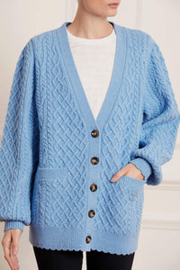 Elsie Cable Longline Cardigan - Dark Blue