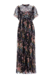 Floral Diamond Bodice Maxi Dress - Black