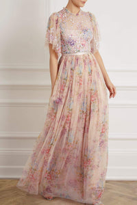 Floral Diamond Bodice Maxi Dress - Pink
