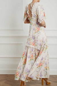 Floral Diamond Elsa V - Neck Gown