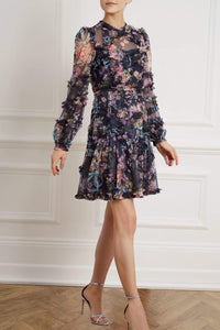 Floral Diamond Ruffle Dress