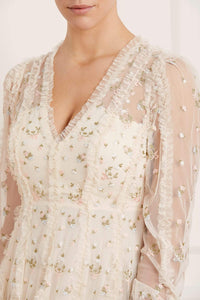 Frieda Ditsy Long Sleeve Gown - Beige