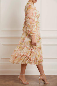 Harlequin Rose Ruffle Ballerina Dress - Beige