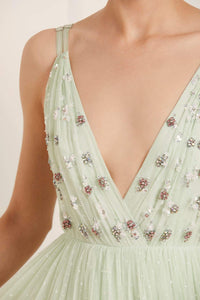 Neve Embellished Bodice Maxi Dress - Green