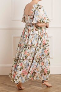 Rose Garden Smocked Cotton Ankle Gown