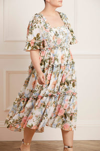 Rose Garden Smocked Cotton Midaxi Dress