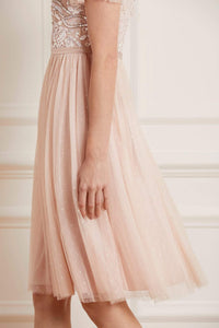 Shirley Ribbon Bodice Midi Dress - Pink