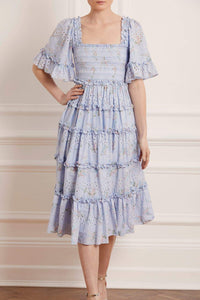 Spray Blossom Smocked Midaxi Dress - Blue