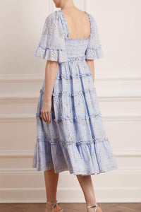 Spray Blossom Smocked Midaxi Dress