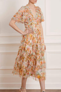 Sunset Garden V-Neck Ballerina Dress - Ivory