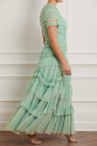 Wild Rose Ruffle Gown - Jade Green
