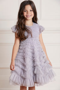 Wild Rose Ruffle Kids Dress - Blue