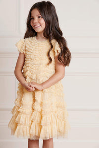 Wild Rose Ruffle Kids Dress - Yellow