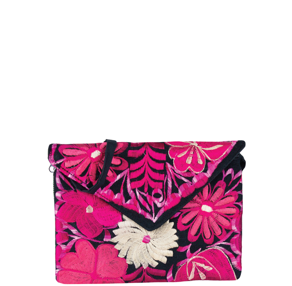 CLUTCH BORDADO NEGRO CON ROSA