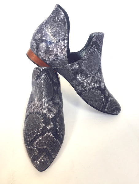 GRAY SNAKE ANKLE BOOTS